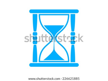 Blue hourglass icon on white background - stock vector