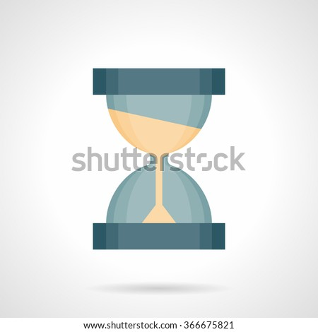 Blue hourglass with sand. Time flow concept. Business planning. Time management. Flat color style vector icon. Element for web design, business, mobile app. - stock vector