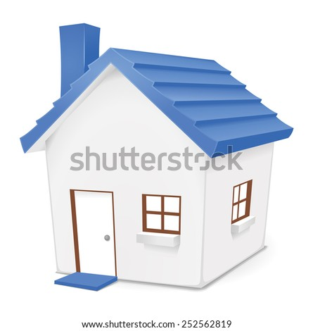 Blue House. Cute vector illustration of blue home for residential, real-estate, housing concepts.