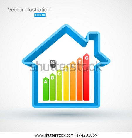 Blue house outline with energy efficiency rating. - stock vector