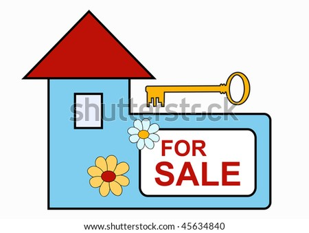 Blue house with for sale text and key, vector illustration - stock vector