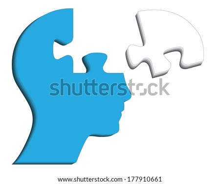 Blue human head with puzzle piece, abstract vector design. - stock vector