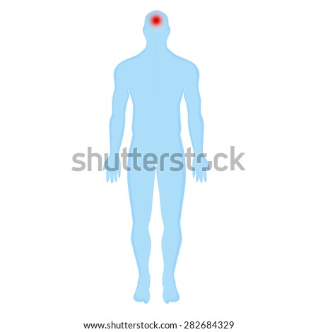 blue human silhouette on a white background. headache, traumatic brain injury, brain injury, cranial trauma, brain inflammation,brain  concussion.  Modern Medical vector infographics. Medic anatomy - stock vector