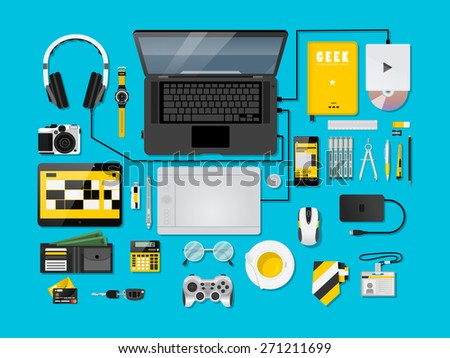 Blue Ice Complete modern vector illustration concept of creative office workspace. Top view of desk background with laptop, digital devices, office objects, books and documents. - stock vector