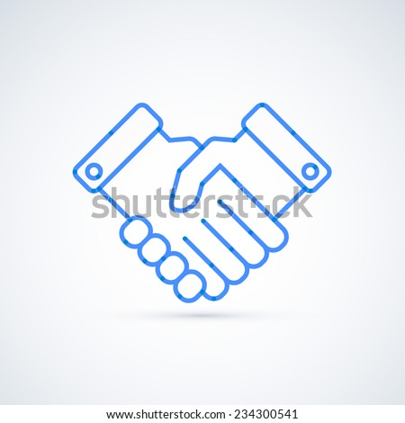 Blue icon handshake. Business and finance concept - stock vector