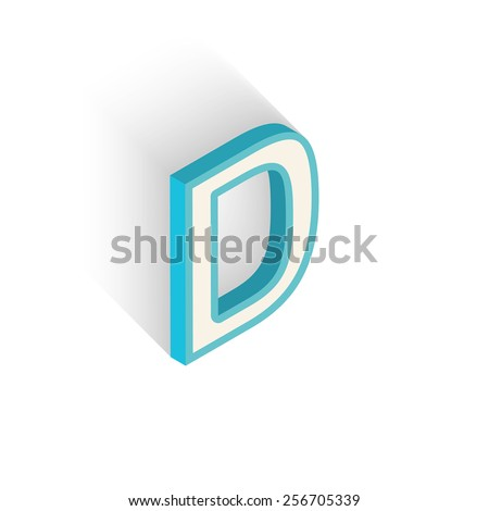 Blue icon isometric letter D with a shadow on a white background. Vector Illustration - stock vector