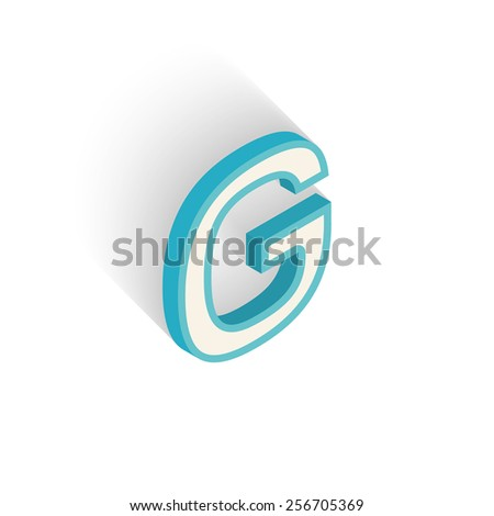 Blue icon isometric letter G with a shadow on a white background. Vector Illustration - stock vector