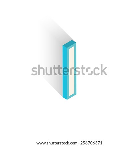 Blue icon isometric letter I with a shadow on a white background. Vector Illustration - stock vector