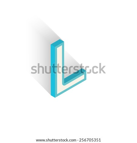 Blue icon isometric letter L with a shadow on a white background. Vector Illustration - stock vector