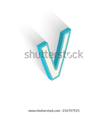 Blue icon isometric letter V with a shadow on a white background. Vector Illustration - stock vector