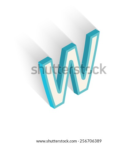 Blue icon isometric letter W with a shadow on a white background. Vector Illustration - stock vector
