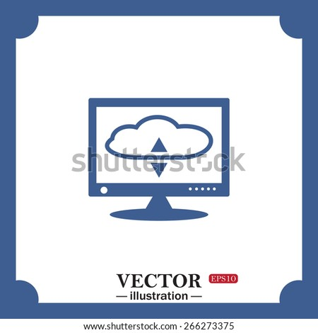 blue icon on white background.  cloud storage on the computer, web icon. vector design - stock vector
