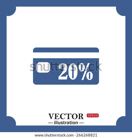 blue icon on white background.  Discount label, web icon. vector design - stock vector