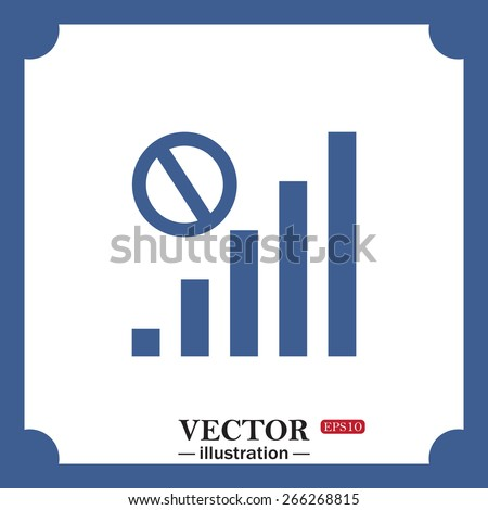 blue icon on white background.  no signal, poor signal strength, signal strength indicator, web icon. vector design - stock vector