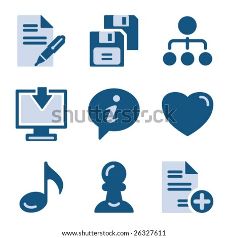 Blue icon set 10 - stock vector