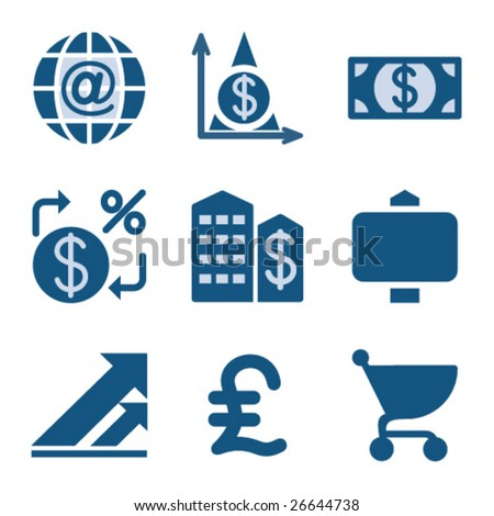 Blue icon set 23 - stock vector
