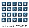 blue icon set glossy - stock vector