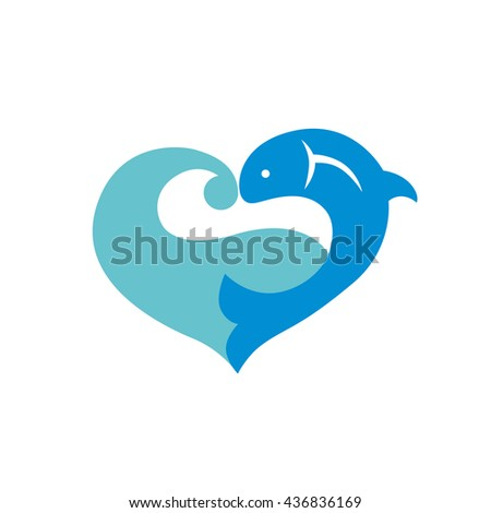 Blue icon with fish and wave isolated on white background. Heart icon