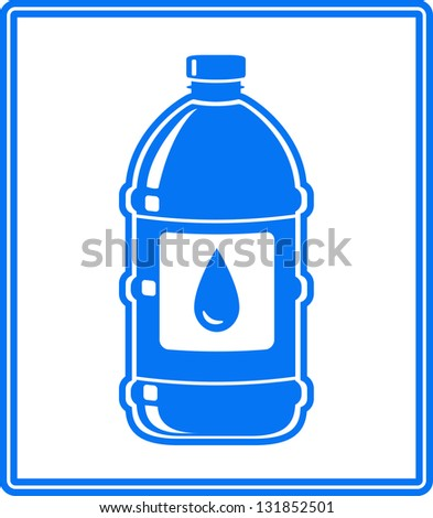 blue icon with water drop and bottle on white background - stock vector