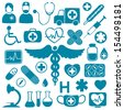 Blue icons on white with medical healthcare symbols - stock
