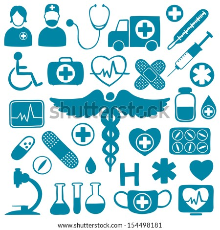 Blue icons on white with medical healthcare symbols - stock vector