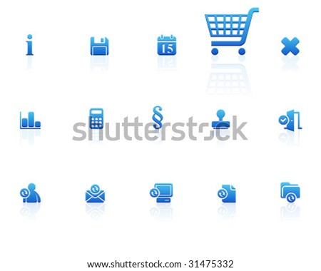 blue icons | set 13 - stock vector