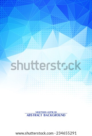 Blue icy abstract digital triangle geometric background. Cover design template layout for corporate card, brochure, flyer. Vector - stock vector