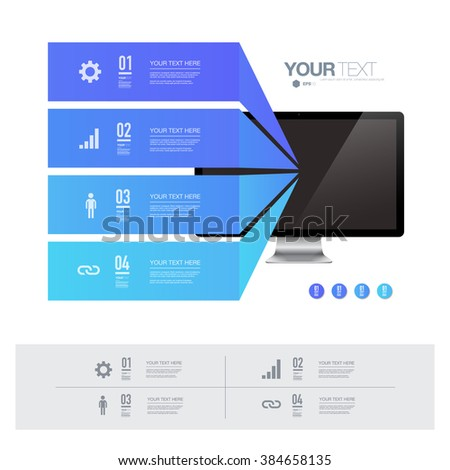 Blue infographic design with realistic 3d computer on simple white background   can be used for workflow layout, diagram, chart, number options, web design.  Eps 10 stock vector illustration  - stock vector