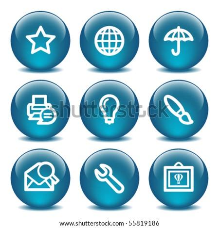 Blue internet buttons 9 - stock vector