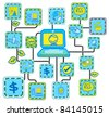 Blue Internet Networking link  vector - stock vector