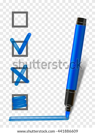 blue isolated marker highlighter pen with checklist, tick and underline. Vector marker exam pen  - stock vector