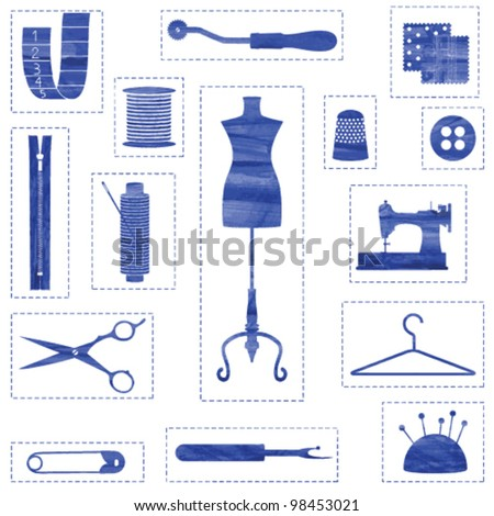 Blue isolated sewing and tailoring symbols with stitched border - stock vector