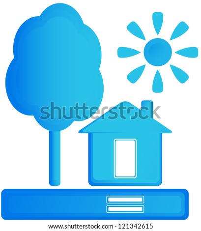 blue isolated sign with home, sun and tree - stock vector