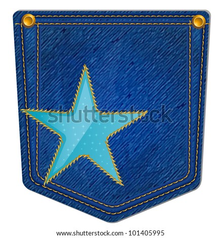 Blue Jean Pocket - Jean Pocket decorated with a star and gold stitching - stock vector