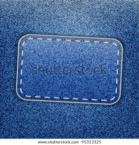 Blue jeans label on jeans texture
