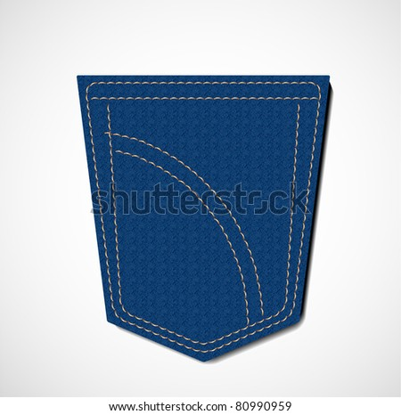 blue jeans pocket - stock vector