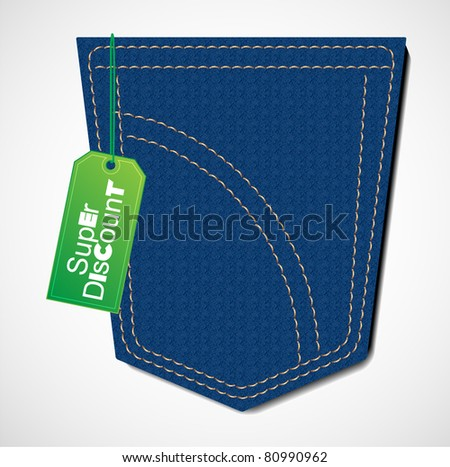 blue jeans with discount tag - stock vector