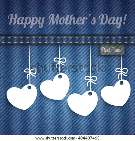 Blue jeans with 4 hanging hearts for Mother's Day. Eps 10 vector file. - stock vector