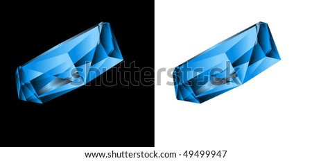 Blue jewel on a black and white background. - stock vector