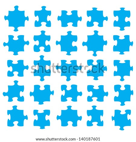 Blue jigsaw pieces that fit together to suit your own artwork. - stock vector
