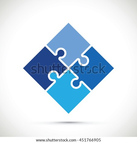 blue jigsaw section - stock vector
