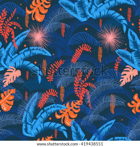 Blue jungle leaves pattern - stock vector