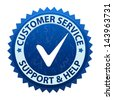 Blue label Customer service and support icon or symbol isolated on white background. Vector - stock photo