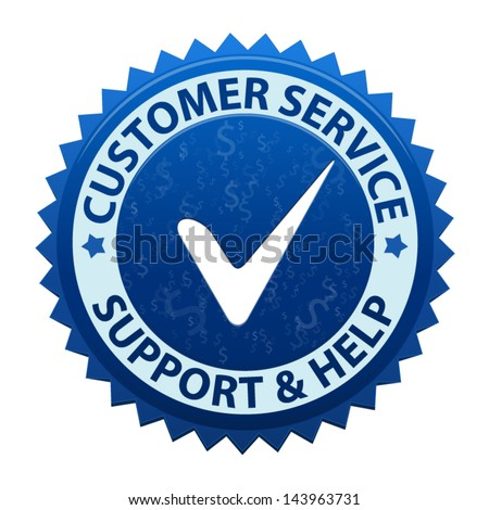 Blue label Customer service and support icon or symbol isolated on white background. Vector - stock vector