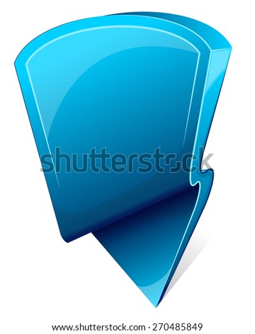 Blue label with arrow. Icon. Vector illustration - stock vector