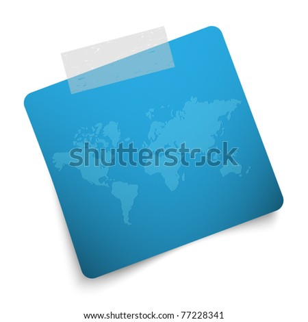 Blue label with world map - stock vector
