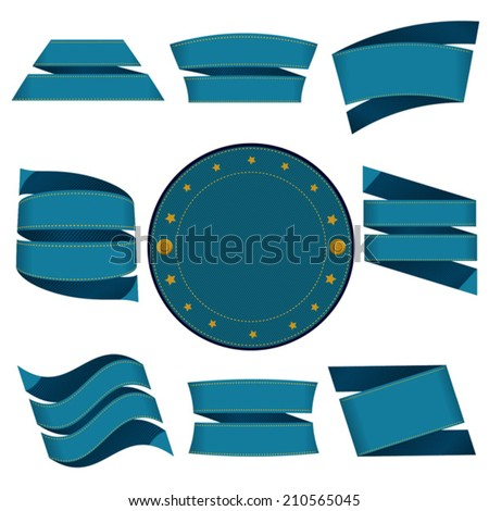 blue labels jeans - stock vector