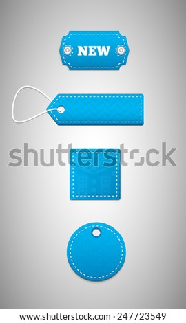 Blue labels, price tags. Set of price tags for sale. - stock vector
