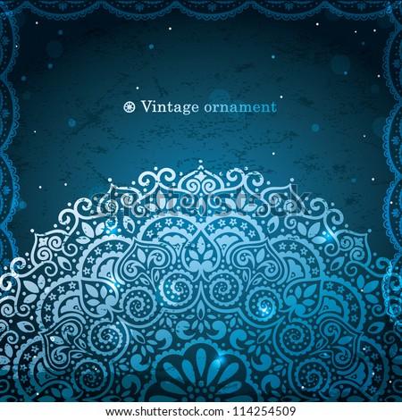 Blue Lace Ornament - stock vector
