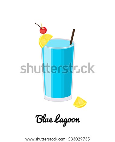 Blue Lagoon alcoholic cocktail with garnish in cartoon style isolated on white background.